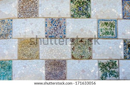 Pattern on wall at park guell tourist attractions in Barcelona, �¢??�¢??Spain. - stock photo