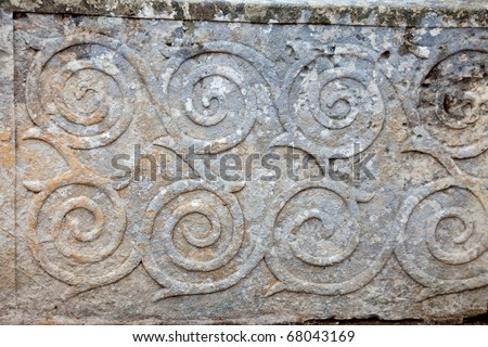 pattern ornament in neolithic Tarxien temples. Malta. Built approximately in 3000 B.C. - stock photo