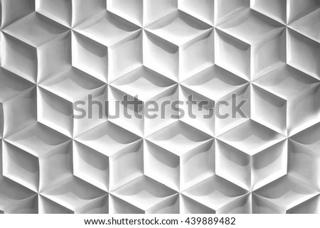 Pattern polygon on the white wall.  - stock photo