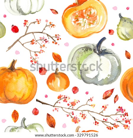 Pattern Pumpkins painted with watercolors on white background. Colored vegetables painted on paper. Autumn vegetables - stock photo