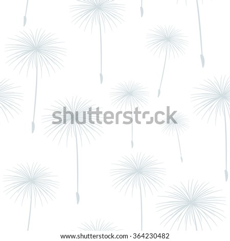 pattern seamless texture background fluffy dandelion gray on white. - stock photo