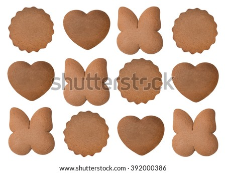 pattern - shaped ginger breads - butterfly, heart, circle