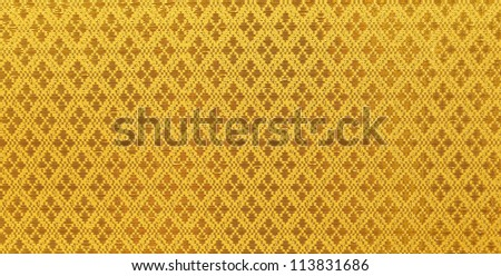 Pattern texture of general traditional thai style native yellow fabric weave - stock photo