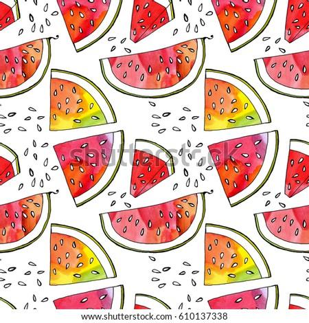 Pattern Wallpaper Fruit Ripe Juicy Watermelon Stock Illustration