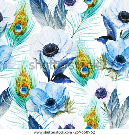 pattern, watercolor, flowers, anemones, peacock, feather, boho - stock photo