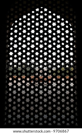 Pattern window at Humayun Tomb, Delhi, India - stock photo