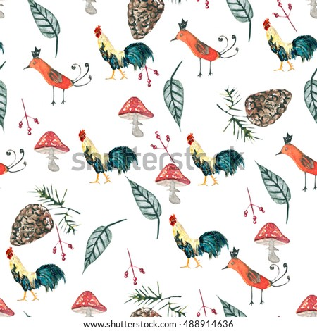 pattern with a cock. background seamless. watercolor painting.