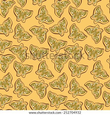 Pattern with orange background and butterfly