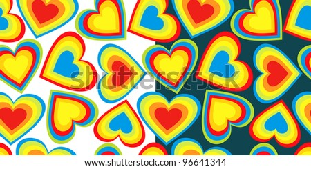 pattern with rainbow cartoon hearts