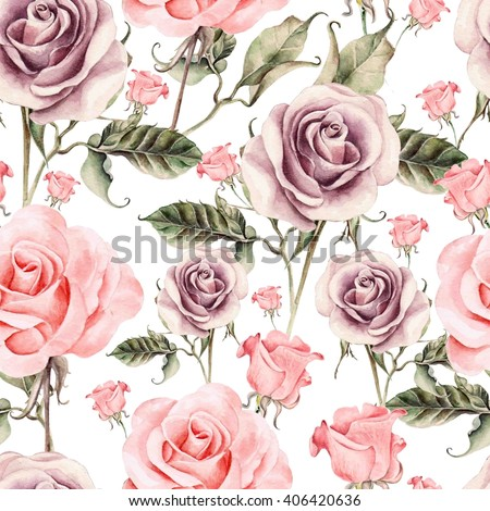 Pattern with watercolor realistic rose.  Illustration. - stock photo