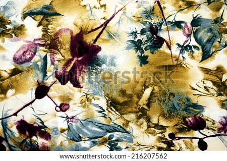 patterned batik fabric suitable as background - stock photo