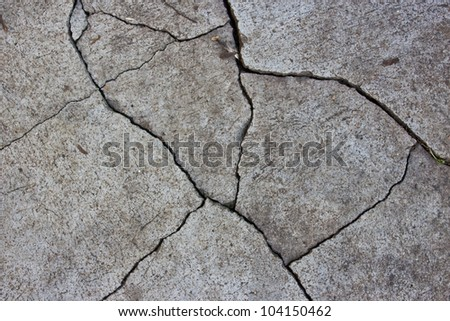 Patterned crack concrete. - stock photo