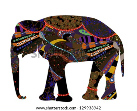 patterned elephant in the ethnic style on a white background - stock photo