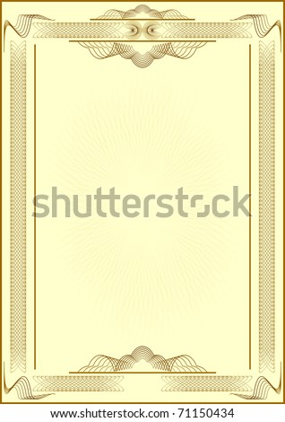 Patterned form of  certificate. Light yellow background. EPS version is available as ID 68602408. - stock photo