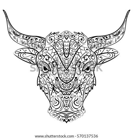 Drawing Angry Bull Coloring Booktattoologot Shirt Stock