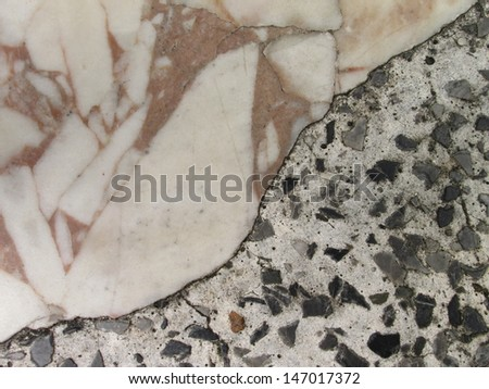 Patterned stone table - stock photo