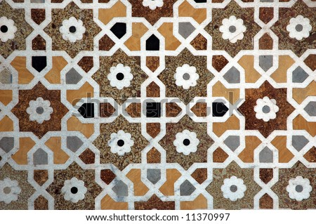 Patterned tile floor in Red Fort, Delhi City, India - stock photo