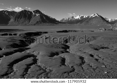 Patterns in the mud flats during low tide on the Turnagain Arm near Hope, Alaska in black and white. - stock photo