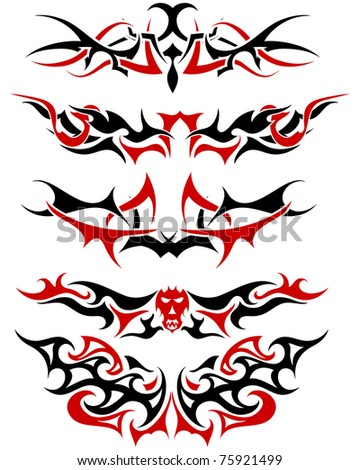 Patterns of black and red tribal tattoo for design use - stock photo