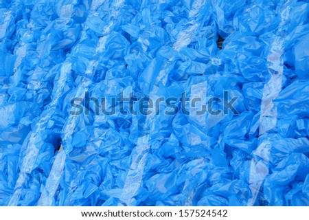 patterns of blue used plastic bags background