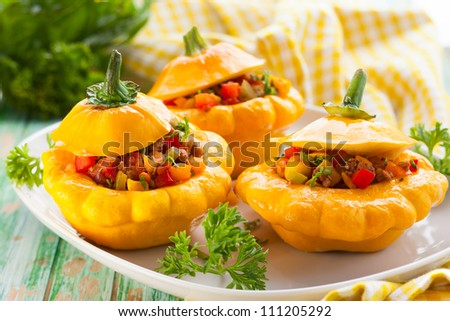 Patty pan squash stuffed with vegetables and meat - stock photo