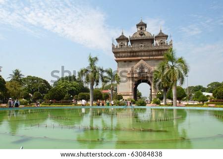 Patuxai monument in Vientiane capital of Laos - stock photo