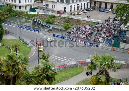 PAU, FRANCE - MAY 23 2015: Participants of Grand Prix Historique compete in the street of PAU, FRANCE - MAY 23 2015.