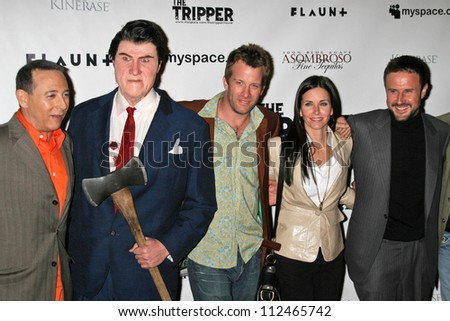 "Paul Reubens and Thomas Jane with Courtney Cox and David Arquette at the Los Angeles Premiere of ""The Tripper"". Hollywood Forever Cemetery, Hollywood, CA. 04-11-07"