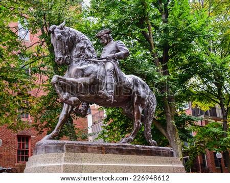 Paul Revere Monument - Boston, MA - stock photo