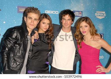 Paul Wesley and Nina Dobrev with Ian Somerhalder and Kayla Ewell at Spike TV's 'Scream 2009!'. Greek Theatre, Los Angeles, CA. 10-17-09