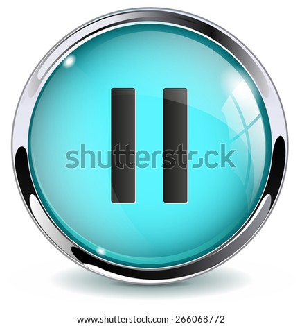 Pause button. Glossy icon with metallic frame. Isolated on white background. Raster version - stock photo