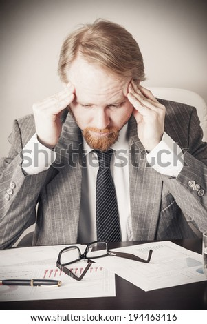 Paused Thinking at Stressful Job - stock photo