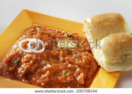 Pav bhaji with bread, onion and butter - stock photo