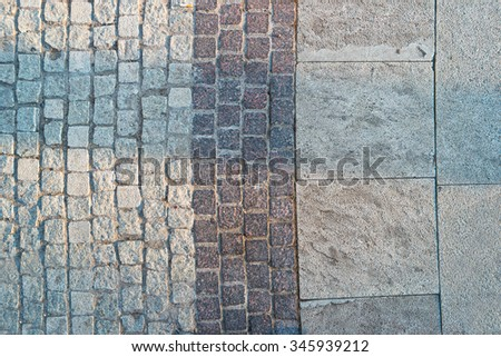 Paved footpath from above, a lot of place for text  - stock photo