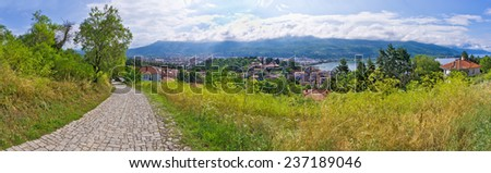 Paved road and beautiful view in Ohrid - Macedonia - stock photo