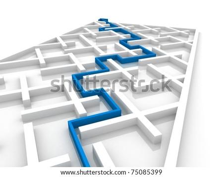 paved the way through the maze - stock photo