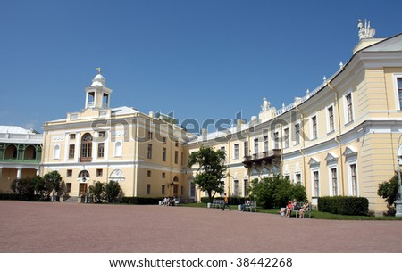 Pavel I's Palace  in Pavlovsk park in Saint Petersburg - stock photo