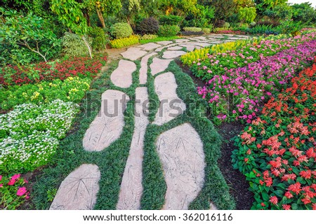 Pavement and flora in garden landscaping.