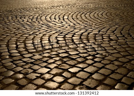 Pavement, at sunset in Rome, Italy - stock photo