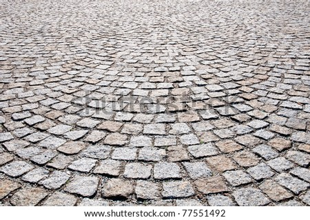 Pavement of granite in the small town Ruhland in the state Brandenburg, Germany - stock photo