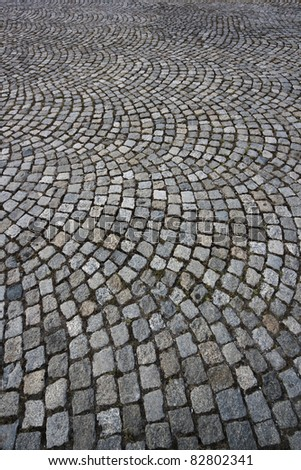 Pavement of granite. Wide angle impressive view. background. pattern. - stock photo