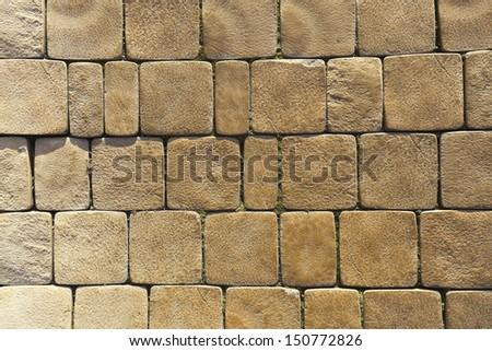 Pavement paved with cobblestone - stock photo
