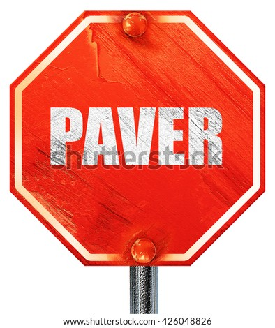 paver, 3D rendering, a red stop sign - stock photo