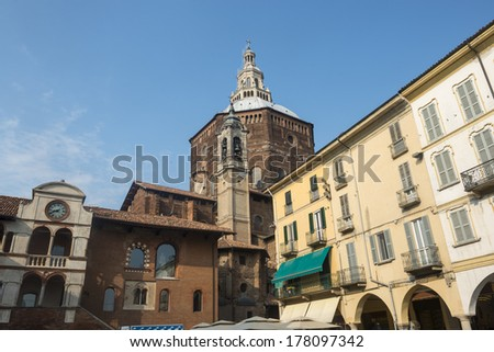 Pavia (Lombardy, Italy), historic buildings at morning
