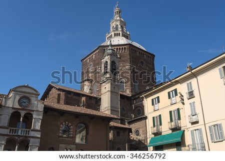 Pavia (Lombardy, Italy), historic buildings at morning: dome of the cathedral