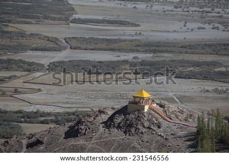pavilion at Diskit monastery, Ladakh, India - stock photo