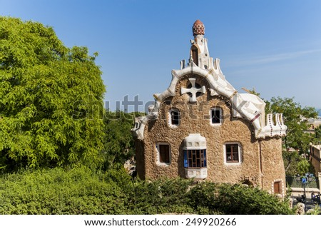 Pavilion at the entrance of Park Guell in Barcelona, Spain. It was designed by the Catalan architect Antoni Gaudi and built in the years 1900 to 1914. - stock photo