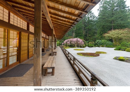 Pavilion by Flat Sand Landscape in Springtime at the Japanese Garden - stock photo
