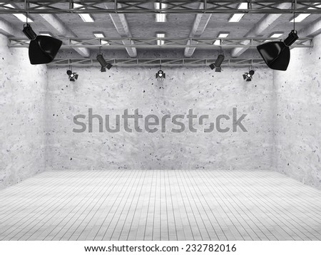 Pavilion Interior of Modern Film Studio with Light Equipment - stock photo