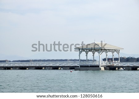 Pavilion Nature Day Outdoor Sea Wood - stock photo